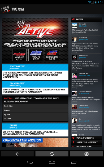 WWE Mobile App