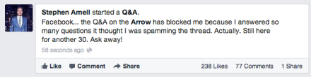 Facebook Q&A  - Stephen Amell